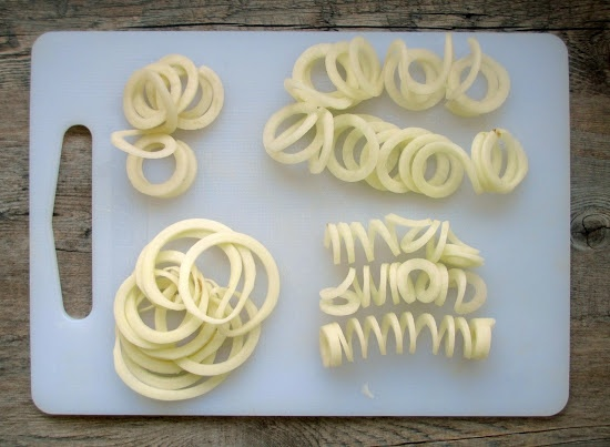 Spiralizer recipe: Once the rutabaga all cut, Just tossed them in a bit of olive oil and some spices (cajun or chilli powder) and baked them at 400°F for 20-25 minutes. Some of the fries got nice and crisp in the oven, and the thicker strands were more soft.