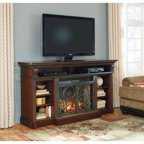 Signature Design by Ashley Alymere Extra Large TV Stand w/ Fireplace Insert, Metal Doors & Marble Tile
