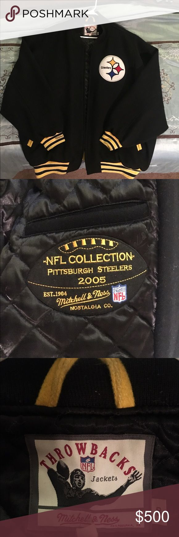 Mitchell & Ness Wool Pittsburgh Steelers jacket Authentic Mitchell & Ness Wool Pittsburgh Steelers jacket made specifically for the players on the team. Sz 3X Jackets & Coats