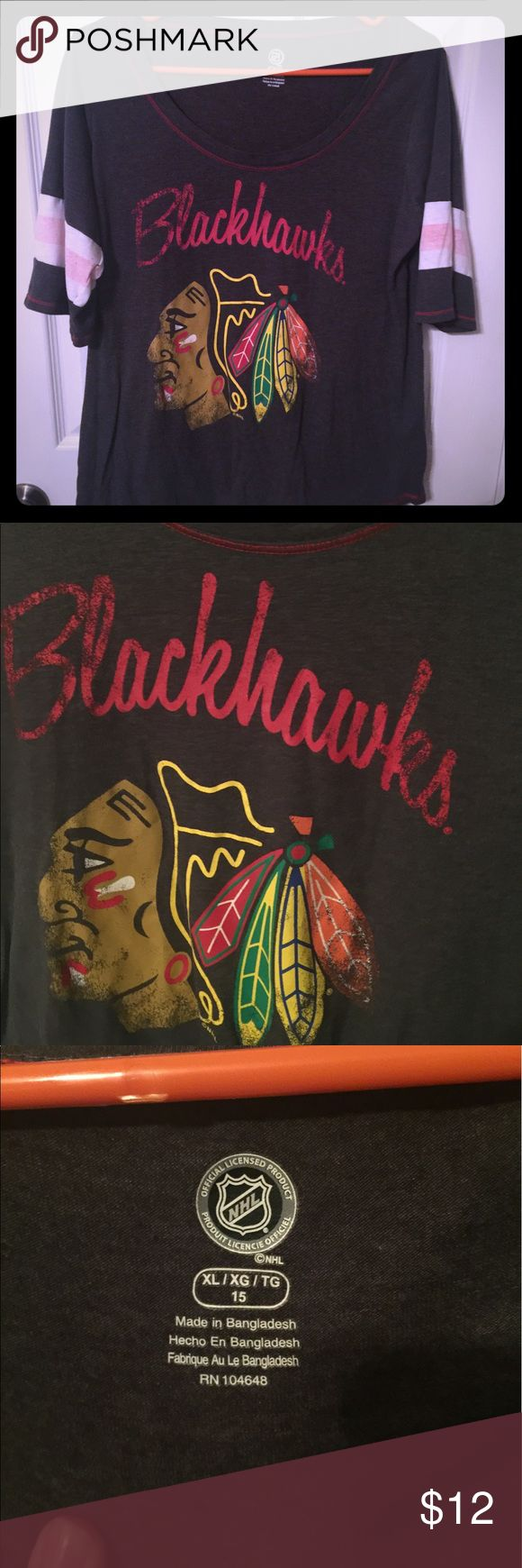 Blackhawks Tee Hawks burnout tee Tops Tees - Short Sleeve