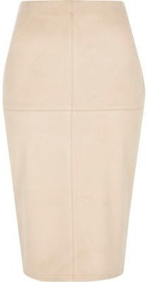 River Island Womens Light pink faux suede midi pencil skirt