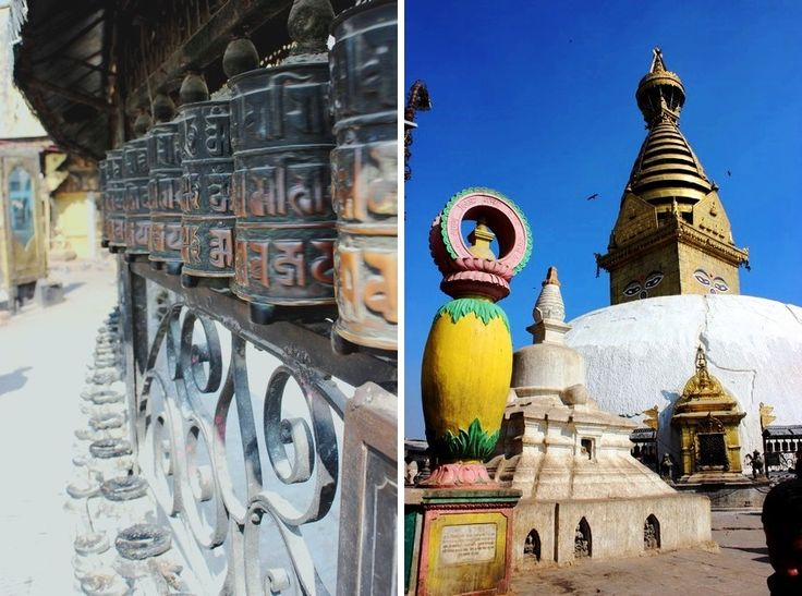 Buddyjskie młynki i stupa w Świątyni Małp