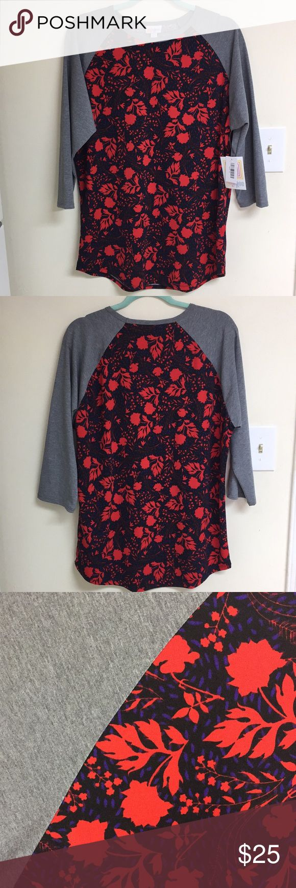 NWT Woman's Lularoe XL Randy Baseball Top Florals NWT Lularoe Randy Top Size XL Fits true to size Black main color body & gray sleeves Purple & red flowers NO DEFECTS  ~~~~~~~~~~ Pet friendly home  Smoker but not in the home  Any questions please ask before purchasing  NO RETURNS LuLaRoe Tops Tees - Long Sleeve
