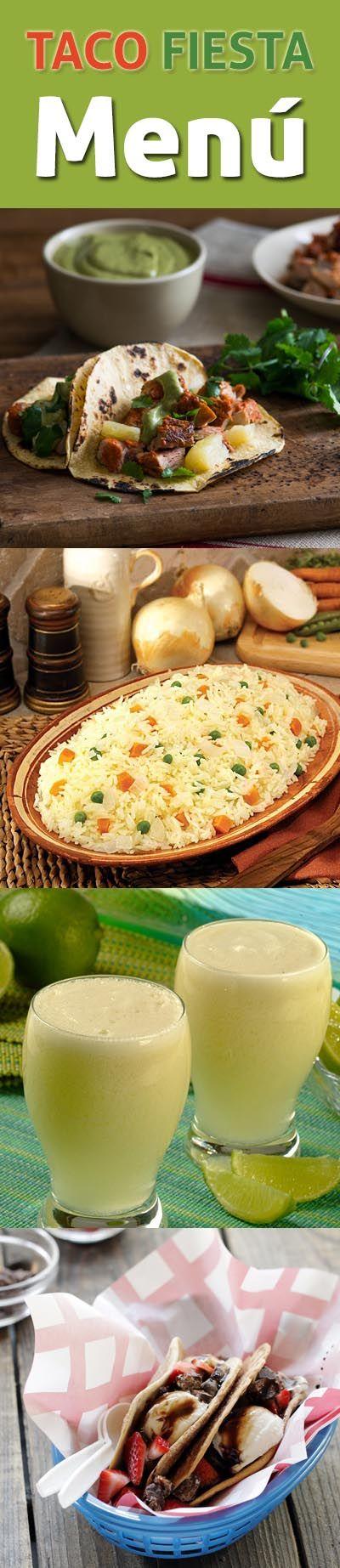 Tacos al pastor, arroz, una rica limonada y hasta tacos de postre. Todo esto, en un menú inspirado en sabores latinos, ¡perfecto para tu próxima fiesta o celebración!