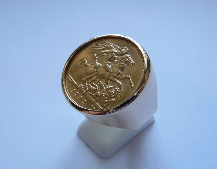 Seal ring gold round with piece Gold Sovereign with socket inner | Jewellery & Watches, Men's Jewellery, Rings | eBay!