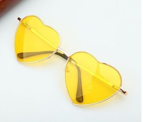 Heart Shaped Woman Fashion Accessories Eyewear Teen Yellow Lens Retro Sunglasses #Designer