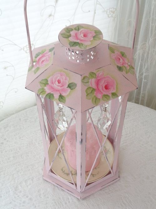 i'd do the lantern in pale green with the pink roses and pink candle.