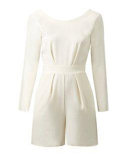 Closet Cream Cross Black Long Sleeve Playsuit | New Look