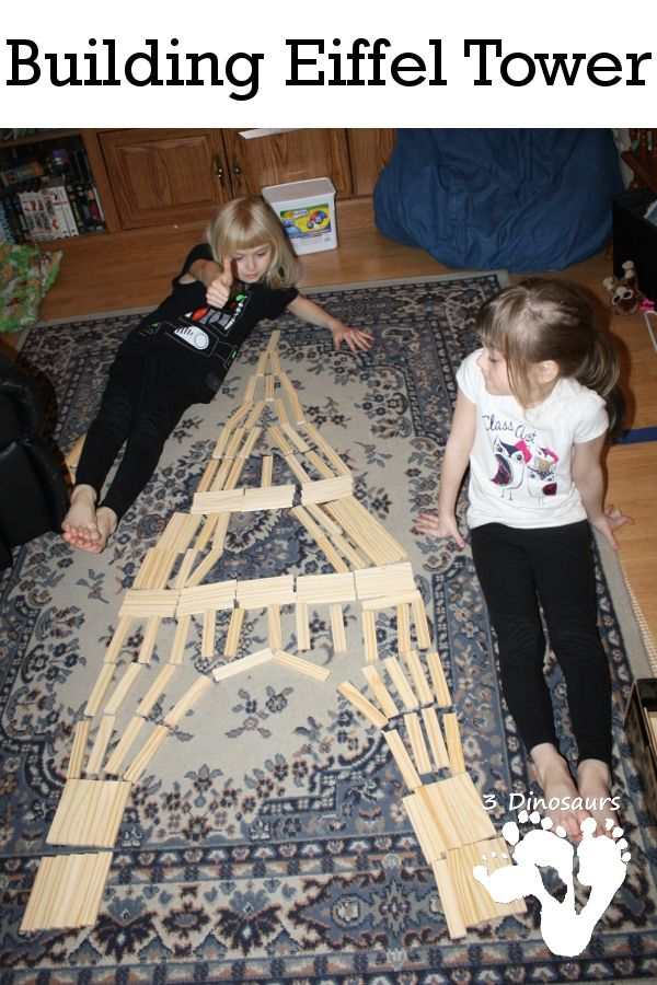 Building Eiffel Tower - STEM activity with plank boards - 3Dinosaurs.com