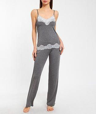 Pyjama 2 pièces modal et dentelle TWEED GRIS etam 40e