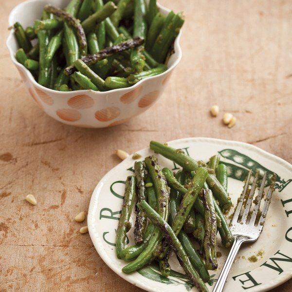 Charred Green Beans with Lemon Verbena Pesto