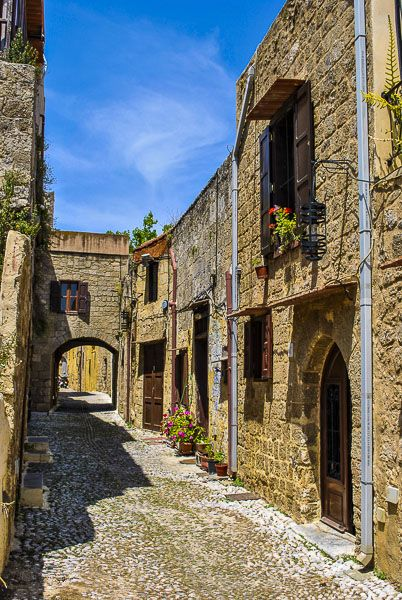 Alley in Medieval town of Rhodes