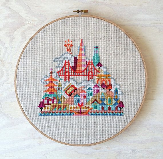 Pretty Little San Francisco Modern Cross stitch par SatsumaStreet, $6.00