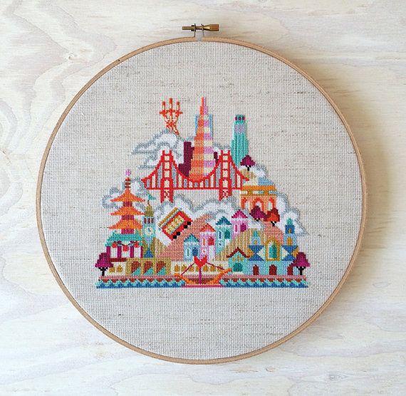 Pretty Little Amsterdam Modern City Cross stitch by SatsumaStreet