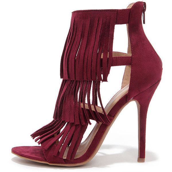 Gypsy Queen Oxblood Suede Fringe Dress Sandals ($28) ❤ liked on Polyvore featuring shoes, sandals, heels, red, heeled sandals, fringe high heel sandals, fringe sandals, dress sandals und red high heel shoes