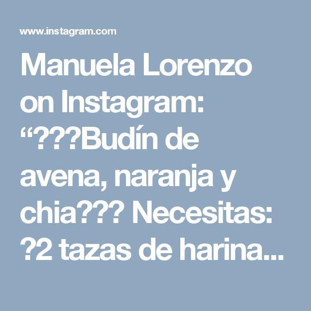 """Manuela Lorenzo on Instagram: """"🙌🏽🍊Budín de avena, naranja y chia🍊🙌🏽 Necesitas: 🍊2 tazas de harina de avena @quaker_arg (la hacen licuando/procesando/mixeando la avena en…"""""""