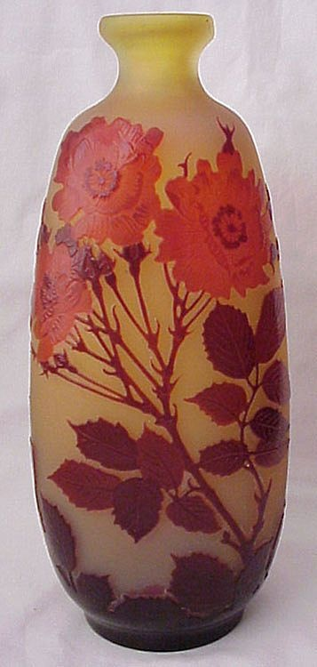 Galle High Polished Cameo Glass Poppy Vase - Circa 1900