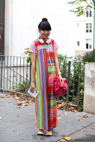 Susie Lau #streetstyle Paris. Directional T-shirt cutting of stripes, plaids, solids