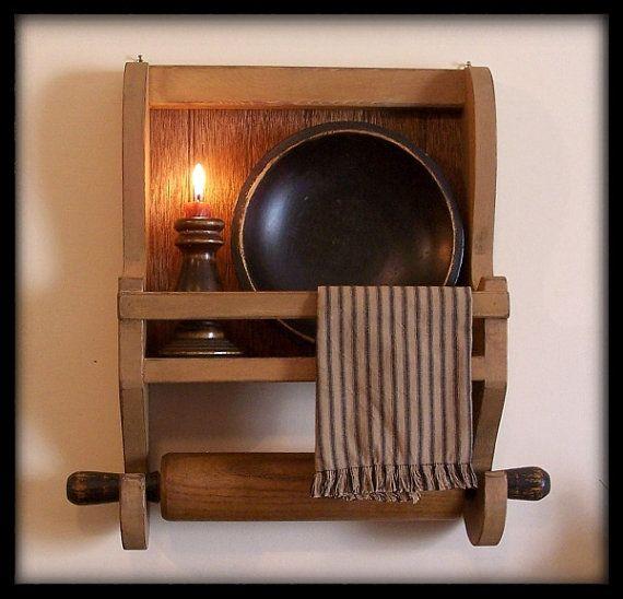 Farmhouse Rolling Pin Bowl Rack Primitive Kitchen Storage / Farmhouse Tan / Color Choice