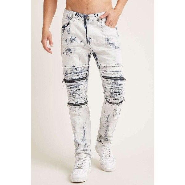Forever21 Victorious Acid Wash Jeans ($58) ❤ liked on Polyvore featuring men's fashion, men's clothing, men's jeans, mens urban jeans, mens wide leg jeans and mens acid wash jeans