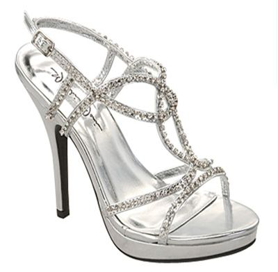 Silver Strappy Rhinestone Jocelyn Heels - Unique Vintage - Cocktail, Pinup, Holiday & Prom Dresses.