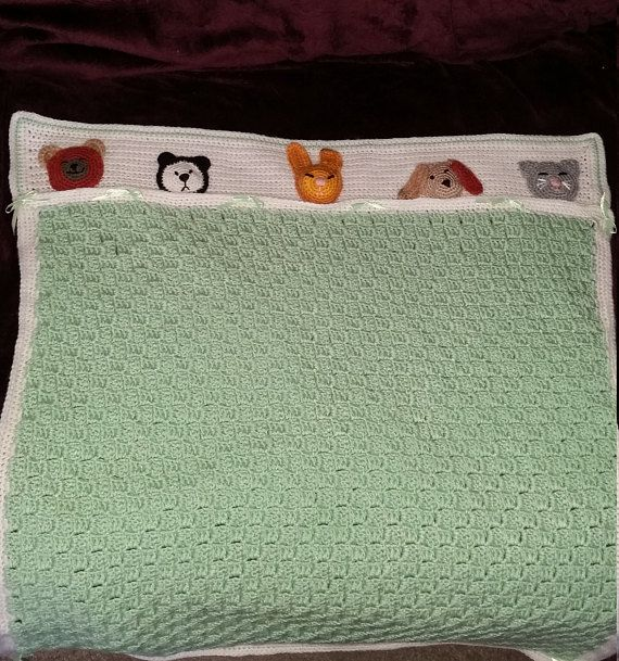 Animal baby blanket green baby blanket cat dog bear panda