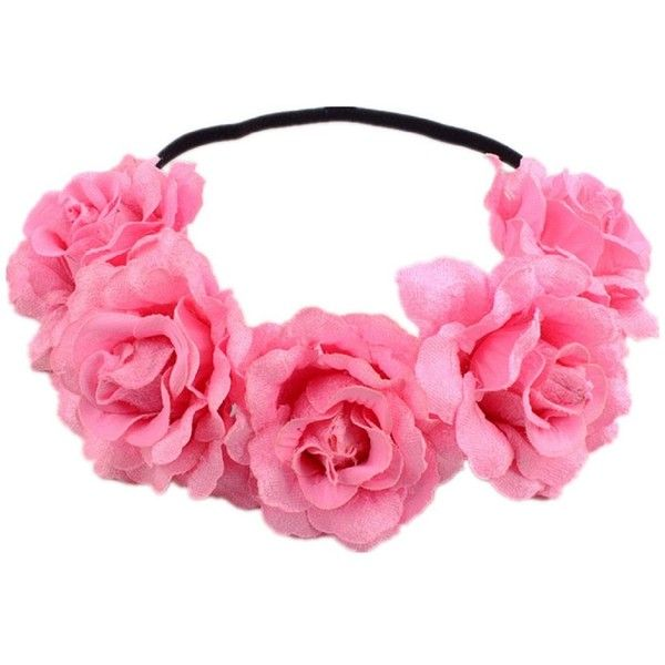 DreamLily Rose Flower Crown Wedding Festival Headband Hair Garland... ($9.99) ❤ liked on Polyvore featuring accessories, hair accessories, rose garland, floral crown headbands, garland headband, wreath headband and flower crowns