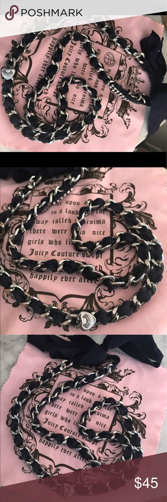 Juicy Couture Necklace Navy and silver juicy couture necklace with tie ribbon closure. Features diamond trim at the top and silver heart with juicy couture logo on the side Juicy Couture Jewelry Necklaces