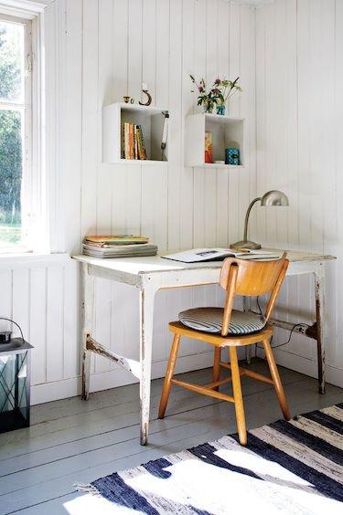 found desk, all white, striped rug bliss blog - guest post from lovenordic design blog: Summer houses