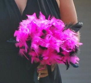 Feather Bridesmaid Bouquet  - Hot Pink and Black Wedding Feathers Crystal Accents - Small Toss Maid Bouquets. $38.00, via Etsy.