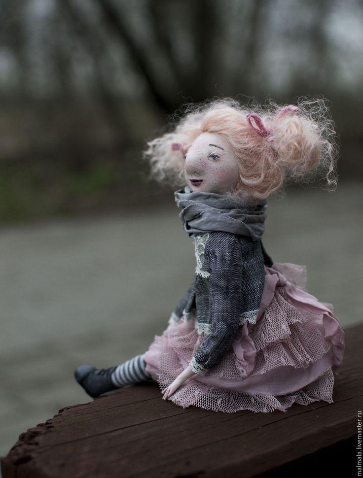Купить Девочка с розовыми волосами. - бледно-розовый, кукла-болтушка, Будуарная кукла, серый, розовый