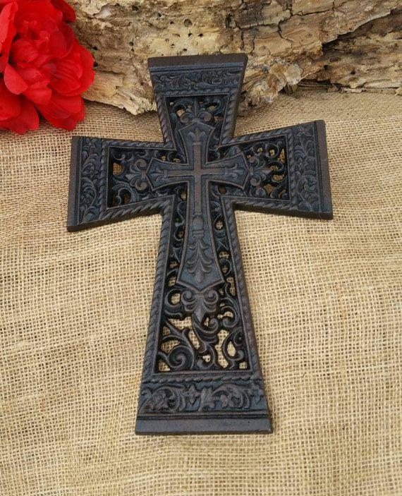wall cross cast iron cross iron celtic scroll by TheMetalBarn