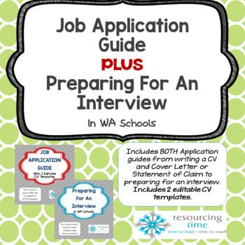 This is a bundle offer of my Job Application Guide With CV Templates PLUS Preparing For