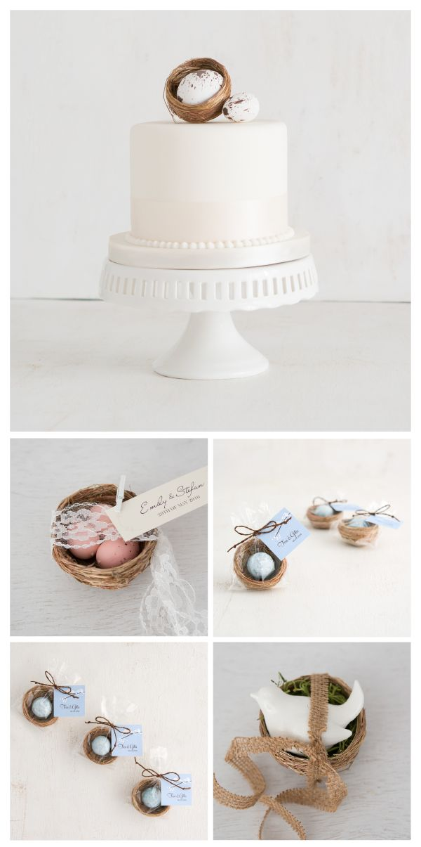 These miniature bird's nests are a cool favour idea to celebrate a spring wedding or shower or for an Easter decor idea . Fill with mini eggs or candies and add a personalised ribbon (sold separately) for a fun take home favour your guests will adore, naturally!