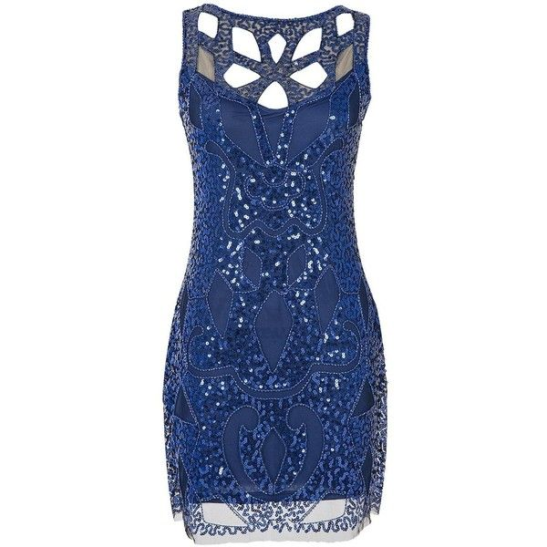 Emust Women's 1920s Gatsby Sequined Embellished Hollow Art Deco... ($30) ❤ liked on Polyvore featuring dresses, art deco dress, blue flapper dress, flapper dress, blue dress and roaring 20s dress