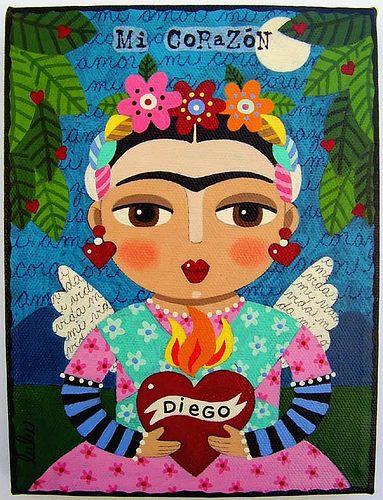 FRIDA KAHLO FLAMING HEART painting by LuLu by MyPinkTurtleStudio