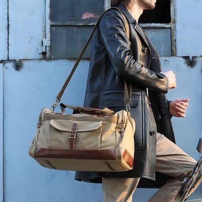 Waxed Canvas Duffle Bag / Weekend Bag / Duffel Bag Men / Men Duffle Bag / Weekender Bag / Leather Duffle Bag / Mens Duffel Bag / Gym Bag(S56)