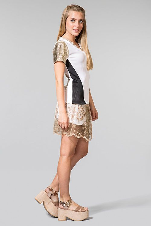 Laura silk top + Amelia gold skirt | front