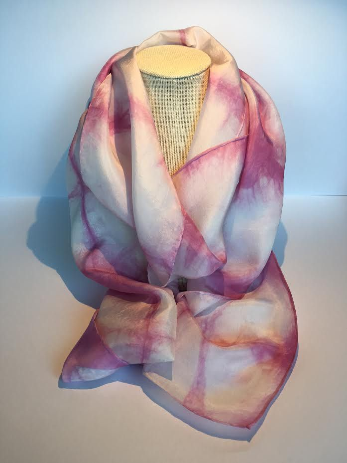 100% Shibori Dyed Habotai Silk Scarf, 2 color dye