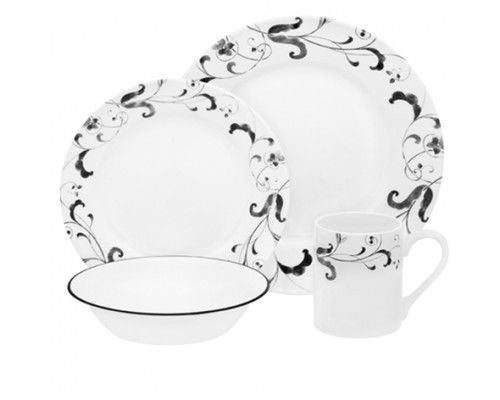Corelle Faenza 16pc Dinner Set - 4 dinner plates 4 bread & butter plates 4 cereal bowls and 4 stoneware mugs. #Corelle #DinnerSet #PopatStores