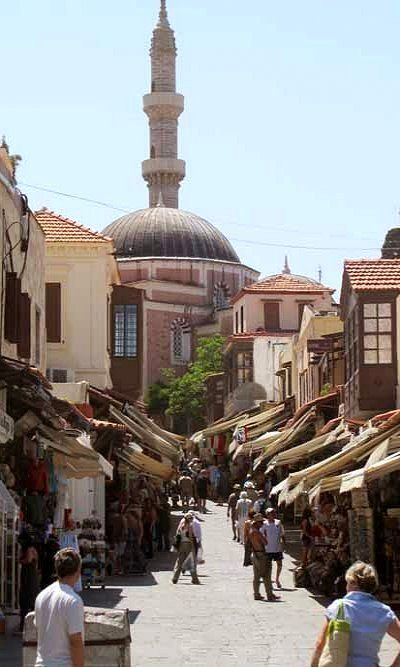 Socratous Street & Mosque of Suleyman in Old Town – Rhodes, Greece