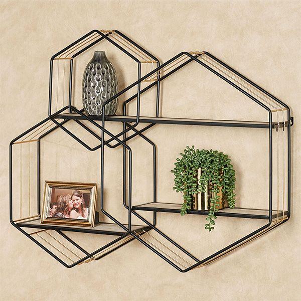 Macayle Hexagon Modern Wall Display Shelf In 2020 Wall Display Display Shelves Modern Wall