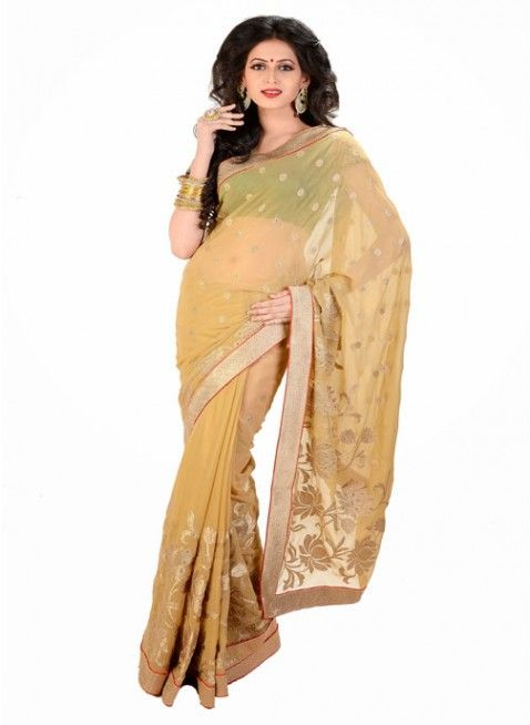 Tantalizing Beige Color Chiffon Based Embroidered #Saree With Resham Work #clothing #fashion #womenwear #womenapparel #ethnicwear