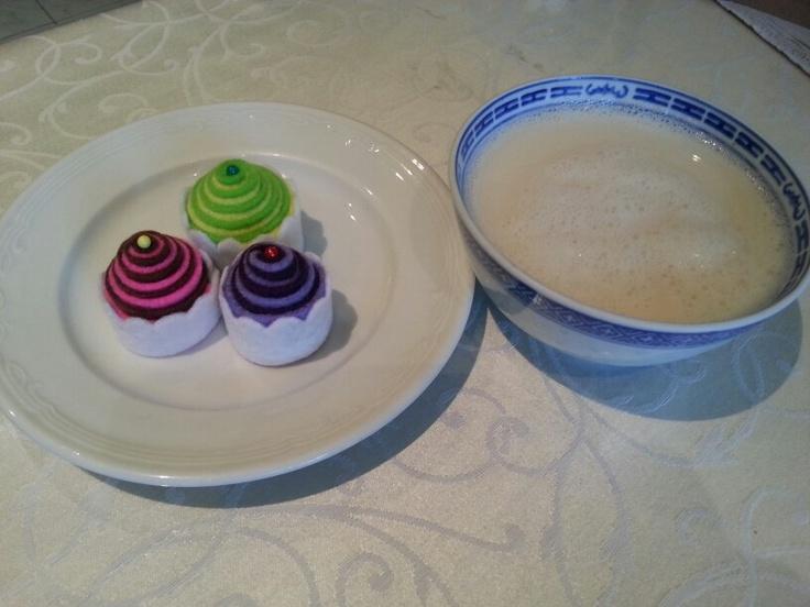 Nice high tea with homemade soya milk and handmade felt cupcakes