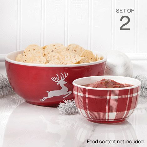 Decorative Xmas Bowl Set of 2 reg.  $19.99 Product Number  1023616 2-piece set. Bright holiday-themed serving bowls in two unique designs. Not for use in oven. www.Facebook.com/shopavonwithdeon