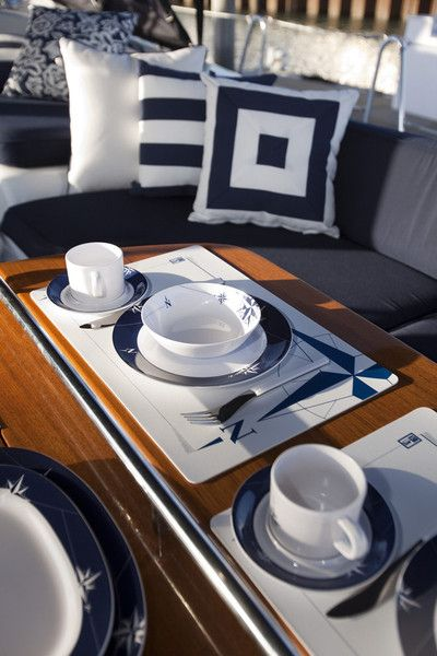 Ahoy Indoor/Outdoor Cushions & cookware for a very chic yacht.