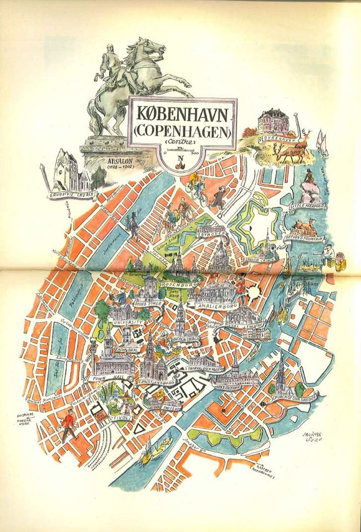 1950s Vintage Copenhagen Map Illustration from HildaLea - 81 DKK - Etsy | Scandinavia Standard