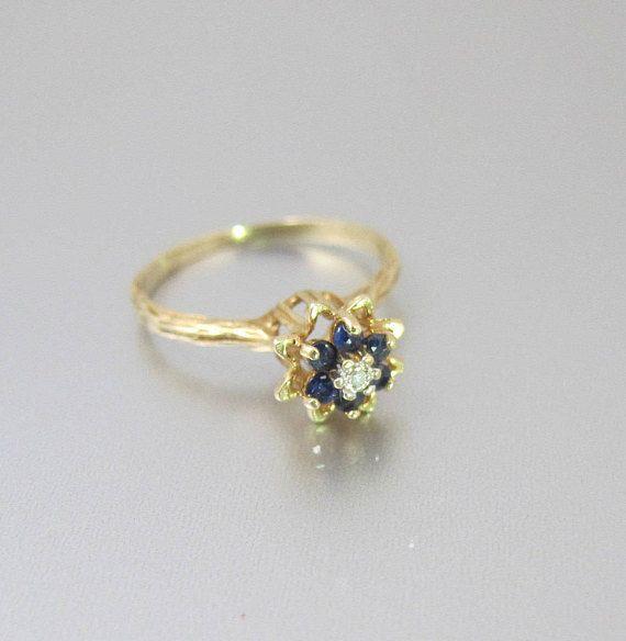 Gold Sapphire Diamond Ring 10k Yellow Gold Diamond Blue Sapphire Tulip Flower Cluster Ring September Birthstone Jewelry Sapphire Diamond Ring Antique Jewelry