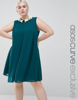 ASOS CURVE Pleat Swing Dress With Flower Embellished Collar