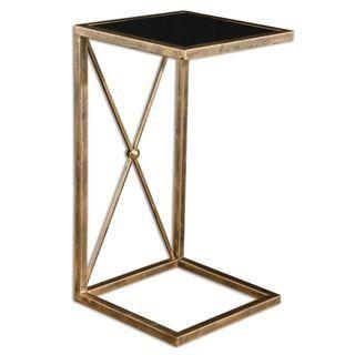 Black Glass C Shape Side Table